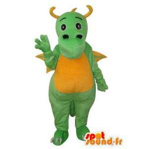 Green Dragon maskot fylt med horn og gule vinger  - MASFR003671 - dragon maskot