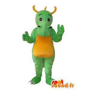 Grön och gul plyschdrakemaskot - Spotsound maskot