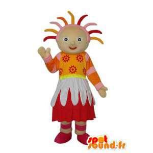 Folk mascotte pluche wat neerkomt op een meisje