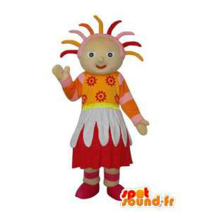 Folk stuffed mascot representing a girl
