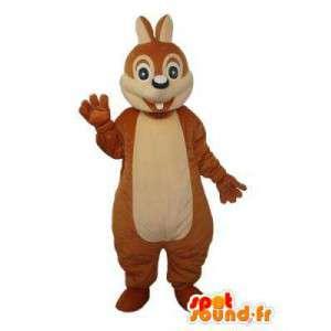 Mascotte de lapin marron pur et clair - déguisement de lapin