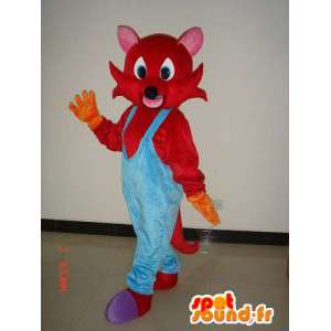 Red fox mascot with blue overalls - Costume Plush