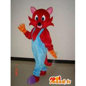 Roter Fuchs-Maskottchen mit blauen Overalls - Kostüm Plüsch