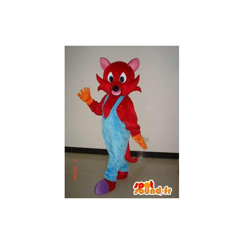 Red mascotte volpe con tuta blu - Costume peluche - MASFR00288 - Mascotte Fox