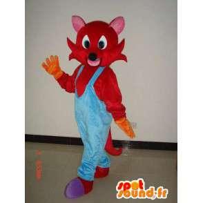 Roter Fuchs-Maskottchen mit blauen Overalls - Kostüm Plüsch - MASFR00288 - Maskottchen-Fox