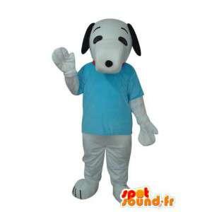 Verkleidet beige Hund im blauen T-Shirt - Maskottchen Affe - MASFR003688 - Hund-Maskottchen