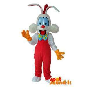Červená a bílá zajíček maskot - Bunny kostým