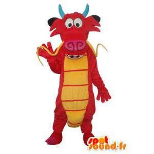 Wołowina maskotka w kolorze czerwonym i żółtym pluszu - wołowina rynsztunku