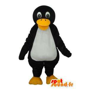 Mascotte de pingouin blanc noir jaune - Déguisement de pingouin