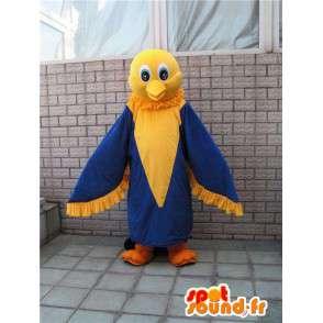 Mascot amarelo e azul águia divertido - traje canário - MASFR00289 - aves mascote