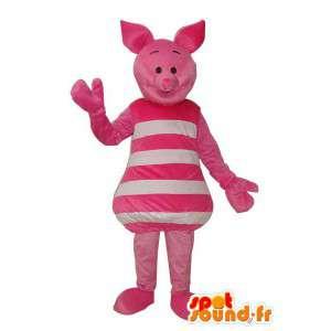 Maskot hvit rosa gris - gris forkledning