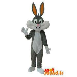 γκρι και λευκό λαγουδάκι μασκότ - λαγουδάκι κοστούμι