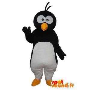 Mascot pinguino bianco nero e rosso - pinguino costume