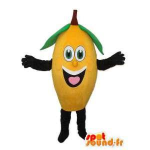 Amarelo mascote da banana preto e verde - traje de banana