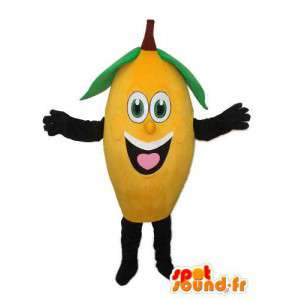 Mascotte de banane jaune noir et vert - déguisement de banane