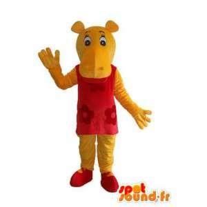Mascotte d'hippopotame rouge et jaune - déguisement hippopotame