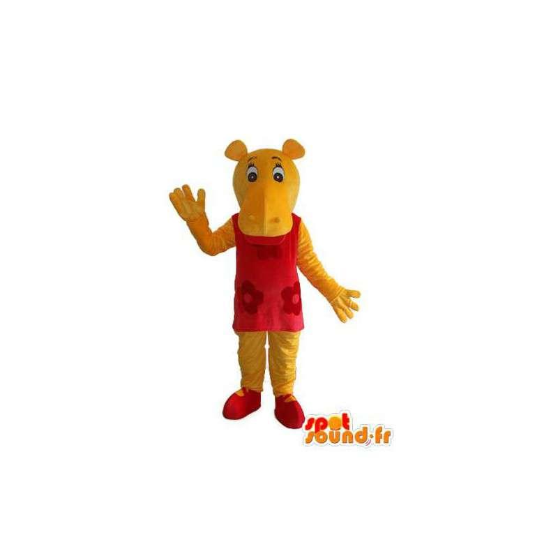 Mascot - Hippopotamus red and yellow - hippo disguise - MASFR003722 - Mascots hippopotamus