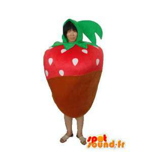 Mascot marrón rojo y tomate verde - traje de tomate - MASFR003725 - Mascota de la fruta