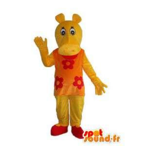 Mascot rojo hipopótamo amarillo - traje hipopótamo