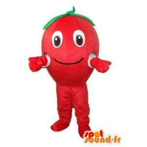 Punainen tomaatti vihreitä lehtiä maskotti - tomaatti valepuvussa - MASFR003734 - hedelmä Mascot