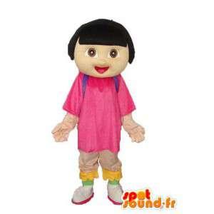 Girl maskot plyš - béžový kostým dívka