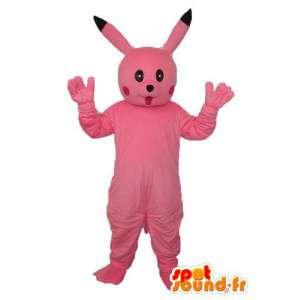 μασκότ κουνελιών βελούδινα ροζ - ροζ λαγουδάκι κοστούμι