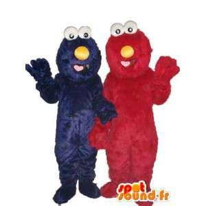 Double maskot plysj rød og blå - maskotene par - MASFR003760 - Maskoter en Sesame Street Elmo