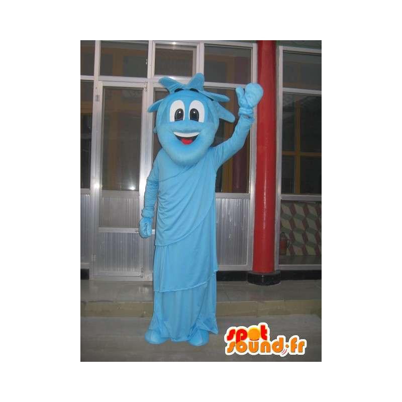 Mascot estatua de la libertad azul - Traje de noche Nueva York - MASFR00293 - Mascotas de objetos