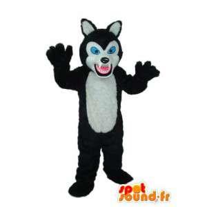 Mascotte de chat noir blanc, yeux bleus – déguisement de chat