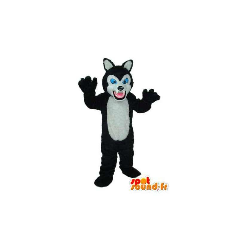 Mascotte de chat noir blanc, yeux bleus – déguisement de chat - MASFR003776 - Mascottes de chat