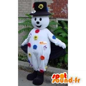 Mascot sneeuwpop - hoed en bloemaccessoires - MASFR00214 - man Mascottes
