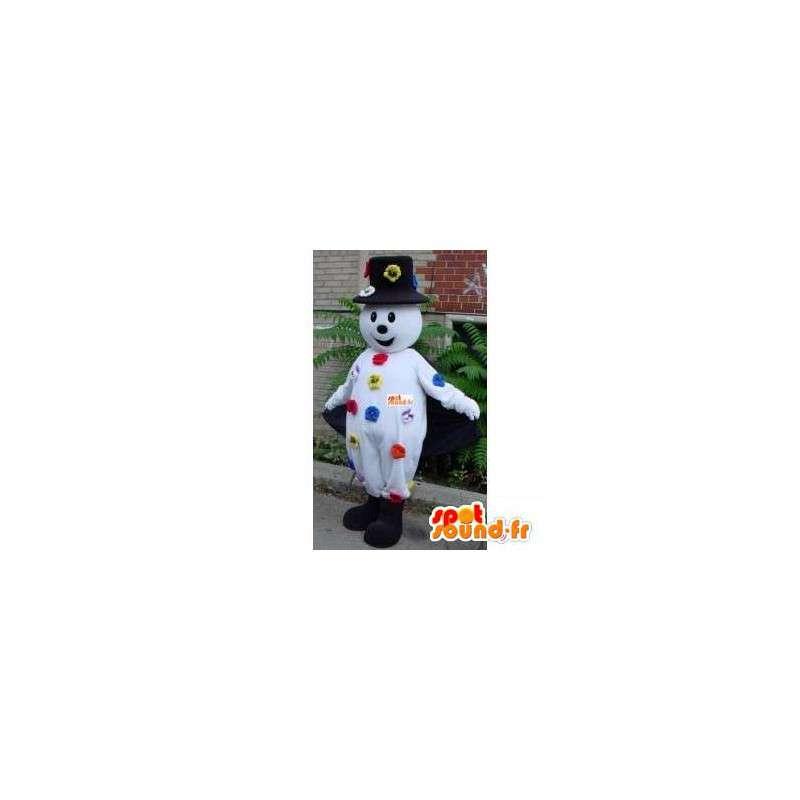 Μασκότ χιονάνθρωπος - καπέλο και λουλούδι αξεσουάρ - MASFR00214 - Ο άνθρωπος Μασκότ