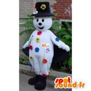 Mascotte pupazzo di neve - Accessori cappello e fiori - MASFR00214 - Umani mascotte