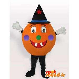 Maskottchen Halloween-Kürbis mit schwarzen Hut mit Zubehör
