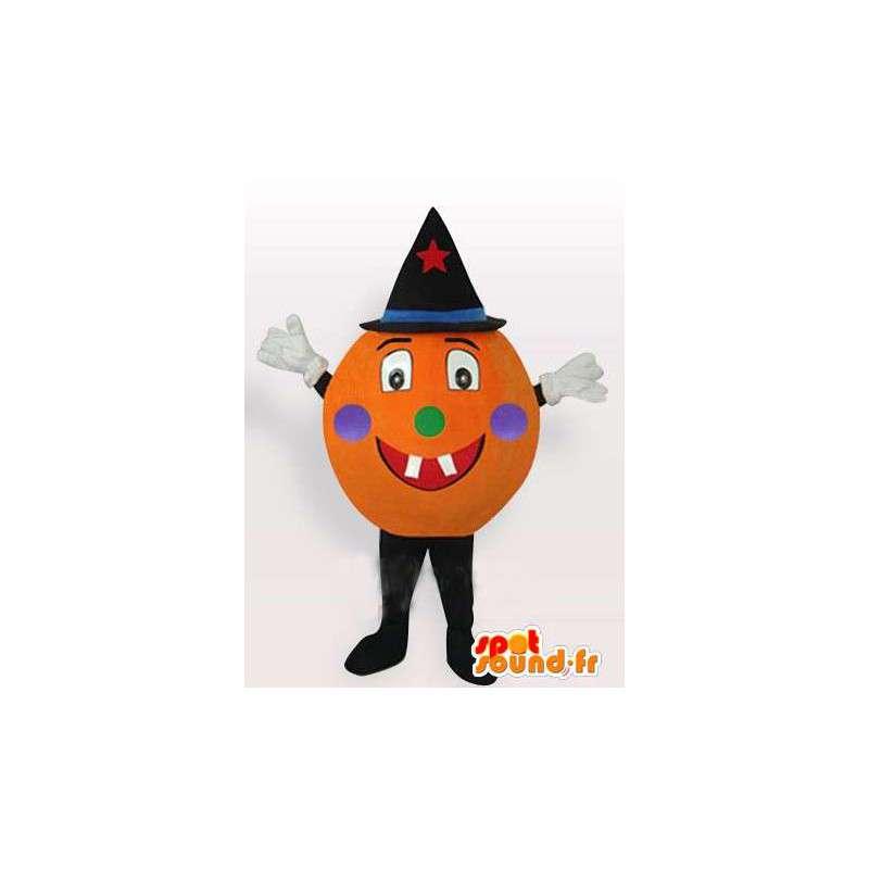 Mascotte zucca di Halloween con il cappello nero con accessori - MASFR00294 - Mascotte di verdure