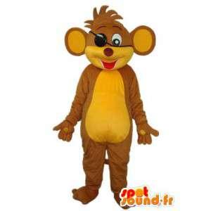 Mascotte de personnage de chat en peluche marron et jaune