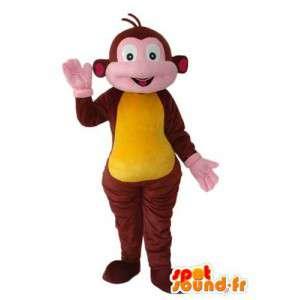 Brown monkey mascot yellow and pink - Monkey costume - MASFR003802 - Mascots monkey