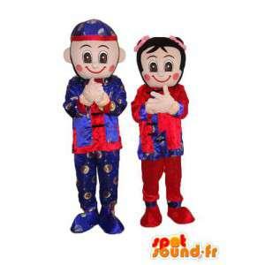 Paar-Maskottchen Charakter BD in japanischen Kimono - MASFR003812 - Menschliche Maskottchen