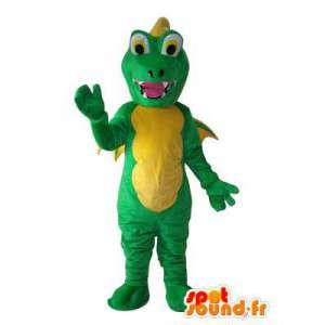 Mascot dragon green and yellow - costume dragon - MASFR003816 - Dragon mascot