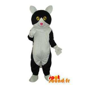 Mascote gato branco e preto - gato traje de pelúcia