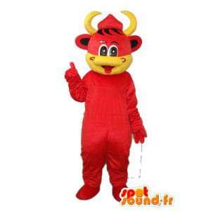 赤い子牛のマスコットと黄 - 赤の子牛のコスチューム