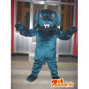 Mascotte chien bulldog - Chien boule dog avec collier et chaine - MASFR00301 - Mascottes de chien