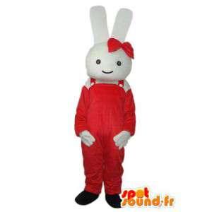 Dräkt som föreställer en vit kanin som bär röda arbetskläder -
