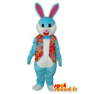 Representing a blue bunny costume wearing - Vest red - MASFR003869 - Rabbit mascot