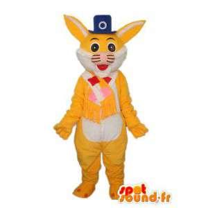 Mascotte représentant un lapin jaune à chapeau haut de forme - MASFR003871 - Mascotte de lapins