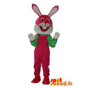 Costume de lapin en salopette rouge bordeaux et pull vert  - MASFR003874 - Mascotte de lapins