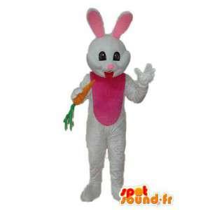 Valkoinen ja vaaleanpunainen pupu puku porkkana kädessä - MASFR003878 - maskotti kanit
