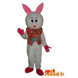 Maskot som representerar en storhårig kanin i en väst -