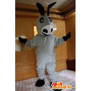 Donkey γκρι μασκότ και το κλασικό μαύρο - Ένας γάιδαρος κοστούμι των ζώων