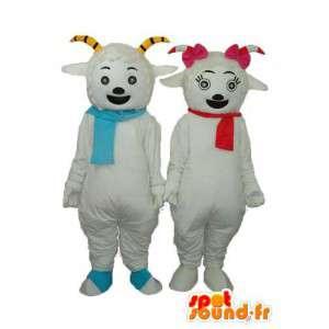 Duo von weißen Schafen lächelnd - Anpassbare - MASFR003894 - Maskottchen Schafe